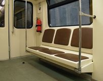 Interior of a subway train. Interior of a modern subway train Royalty Free Stock Photos