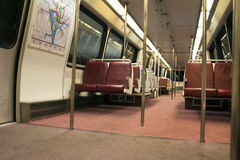 Interior of subway train car Stock Photo