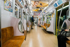 The interior of a subway train carriage in Tokyo Stock Photos