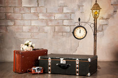 Interior, suitcases against the wall. Time travel. Stock Images