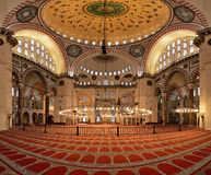 Interior of the Suleymaniye Mosque in Istanbul Stock Images