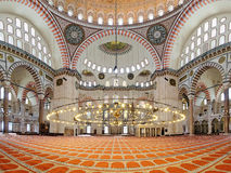 Interior of Suleymaniye Mosque in Istanbul Royalty Free Stock Image