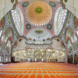 Interior of Suleymaniye Mosque in Istanbul Stock Photography