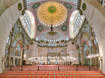 Interior of Suleymaniye Mosque in Istanbul Royalty Free Stock Photography