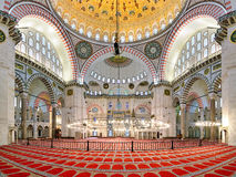 Interior of Suleymaniye Mosque in Istanbul, Turkey Royalty Free Stock Photos