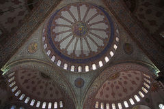 Interior of the Sultan Ahmed Mosque, or blue mosque, in Istanbul Royalty Free Stock Photo