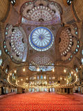 Interior of the Sultan Ahmed Mosque in Istanbul, Turkey Royalty Free Stock Image