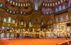 Interior of Sultan Ahmet Mosque (Blue Mosque) in Istanbul Stock Image