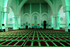 Interior of Sultan Haji Ahmad Shah Mosque a.k.a UIA Mosque in Gombak, Malaysia. KUALA LUMPUR, MALAYSIA – JANUARY, 2015: The Sultan Haji Ahmad Shah Mosque is Royalty Free Stock Photography