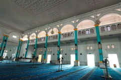 Interior of Sultan Ismail Mosque in Muar, Johor, Malaysia. JOHOR, MALAYSIA – JANUARY, 2014: Sultan Ismail Mosque also known as Muar 2nd Jamek Mosque stock images