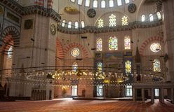 Interior of the Sultanahmet Mosque Blue Mosque in Istanbul, Turkey Royalty Free Stock Images