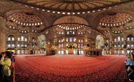 Interior of the Sultanahmet Mosque in Istanbul Royalty Free Stock Photo