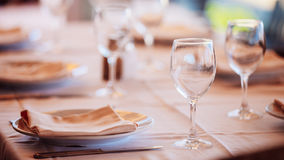 The interior of summer cafe - sheltered tables stock photo