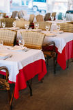 The interior of summer cafe - sheltered tables royalty free stock photo