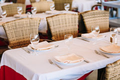 The interior of summer cafe - sheltered tables royalty free stock photos