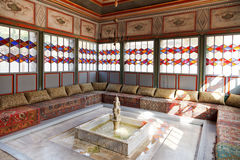 Interior of Summer Hall in Khan's Palace, Crimea. BAKHCHYSARAI, RUSSIA - OCTOBER 1, 2014: interior of Summer Hall in Khan's Palace (Hansaray) in Bakhchisaray Stock Photos