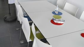 Interior of summer restaurant with white furniture an decoration.  stock video