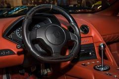 Interior of supercar Lamborghini Murcielago, 2004. Stock Photos