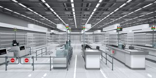 Interior of a supermarket with empty shelves royalty free stock photography