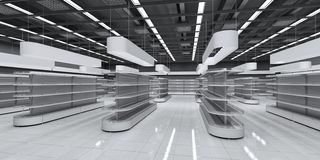 Interior of a supermarket with empty shelves stock photos