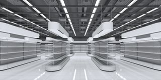Interior of a supermarket with empty shelves stock photography