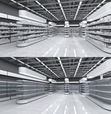 Interior of a supermarket with empty shelves and with goods. royalty free stock photo