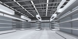 Interior of a supermarket with empty shelves stock images