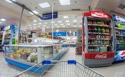 Interior of the supermarket Perekrestok. Stock Image