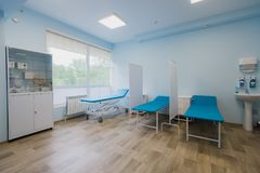 Interior of surgical recovery area in hospital.  royalty free stock photos