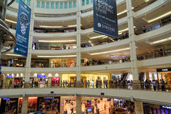 Interior of Suria KLCC shopping mall in Kuala Lumpur. Kuala Lumpur, Malaysia -January 7, 2016: Interior of Suria KLCC shopping mall. It is six level shopping Royalty Free Stock Photos