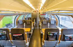 Interior of Sweden suburban train Stock Photography