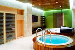 Interior. Swimming pool. Room for the rest, relax and healse stock photos