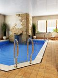 Interior of the swimming pool. 3d rendering of the swimming pool royalty free illustration