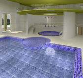 Interior swimming pool with whirlpool tub Royalty Free Stock Image