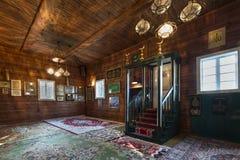 Interior tártaro de madera de la mezquita en Kruszyniany, Polonia Fotos de archivo libres de regalías