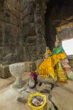 Interior of Ta Prohm temple with incense sticks, Cambodia Royalty Free Stock Photos