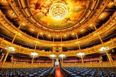 Interior of Teatro Nacional Nacional Theatre of Costa Rica in. Interior view with bright lights of empty National Theatre Teatro Nacional de Costa Rica, San Jose stock images