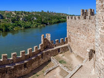 Interior of the Templar Castle of Almourol and Tagus river. Stock Photography