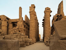 Interior of Temple of Karnak in Luxor Egypt Stock Photos