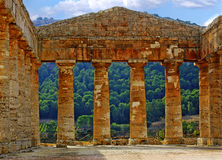 Interior of Temple in Segesta. Temple of Hera in Segesta Greek colony in Sicily royalty free stock photography