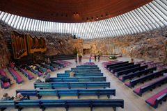 Interior of Temppeliaukio Church in Helsinki, Finland Royalty Free Stock Photography