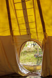 Interior of a tent looking outward Stock Images