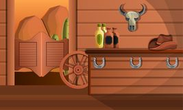 Interior of texas saloon concept banner, cartoon style royalty free illustration