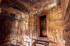 Interior of the 7th century cave temple in Badami complex, India. Inside are four Hindu, Jain and Buddhist cave temples Stock Photography
