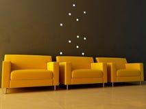 Interior - Three yellow seats in waiting room Stock Photo