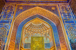 Interior of Tilya-Kori Madrasah on Registan Square in Samarkand, Uzbekistan Royalty Free Stock Image