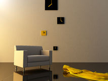 Interior - Time zone clock on modern style room Royalty Free Stock Photography