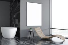 Interior, tina y cartel de lujo grises del cuarto de baño stock de ilustración