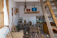 Interior to an annex of the farmhouse of slovak ethnics.The Bana Stock Image