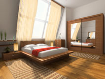 Interior to bedrooms. Modern interior in bedrooms with bed and closet Royalty Free Stock Photo